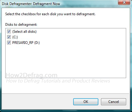 Vista Defrag Select Drives