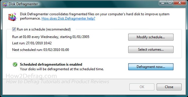 How to Defrag on Windows Vista