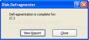 XP Defrag Complete
